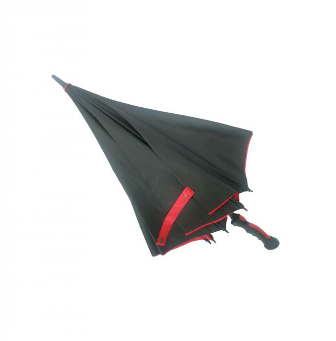 30 Inch Automatic Black & Red Double Canopy Golf Umbrella Inside With Black Net