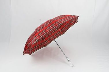 China 27 Inch Manual Windproof Golf Umbrellas Red Tartan Fabric Acrylic Handle factory
