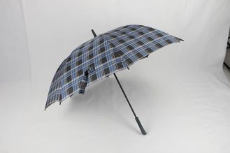 China Blue Tartan Windproof Golf Umbrellas 30 Inch Automatic With Fiberglass Frame factory