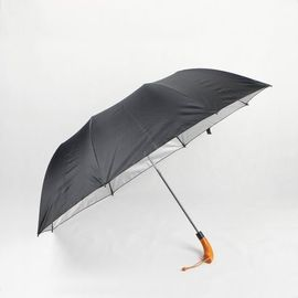 Wooden Handle Two Foldable Golf Umbrella With Black Silver Coating Polyester Canopy