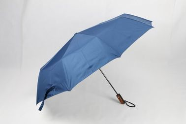 China 27 Inch 3 Foldable Golf Umbrella Blue Canopy Wind Resistant With Silver Coating factory