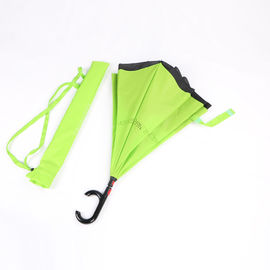 China Windproof C Hook Reverse Folding Umbrella , Green Reversible Rain Umbrella factory