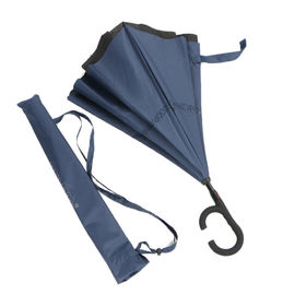 China Extra Large Windproof Reverse Umbrella , Reverse Folding Double Layer Inverted Umbrella factory