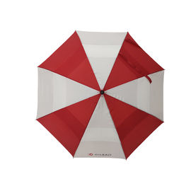 China 29 Inch Red And White Double Canopy Umbrella With Black Color EVA Handle factory