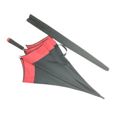 China Big Red And Black Promotional Golf Umbrellas With Skidproof Cap And EVA Handle factory