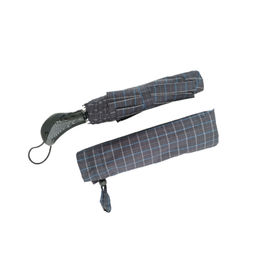 China Tartan Windproof Folding Umbrella That Opens And Closes With Button And Luxury Handle factory