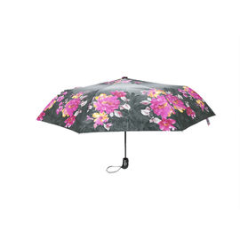 China 21 Inch Stain Fabric Ladys Auto Open And Close Umbrella With Flower Design factory