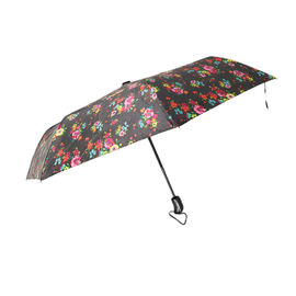 China Lady Pearly Luster Auto Open Close Umbrella With Black Plastic Handle factory