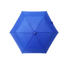 Small Blue Three Fold Umbrella Silver Coating Plastic Handle 6 Panels