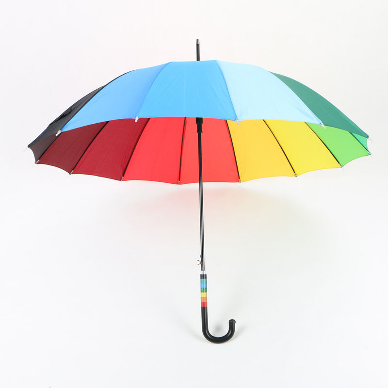 23 Inch Rainbow Golf Umbrella , Automatic Open compact Umbrella With Hook Handle supplier