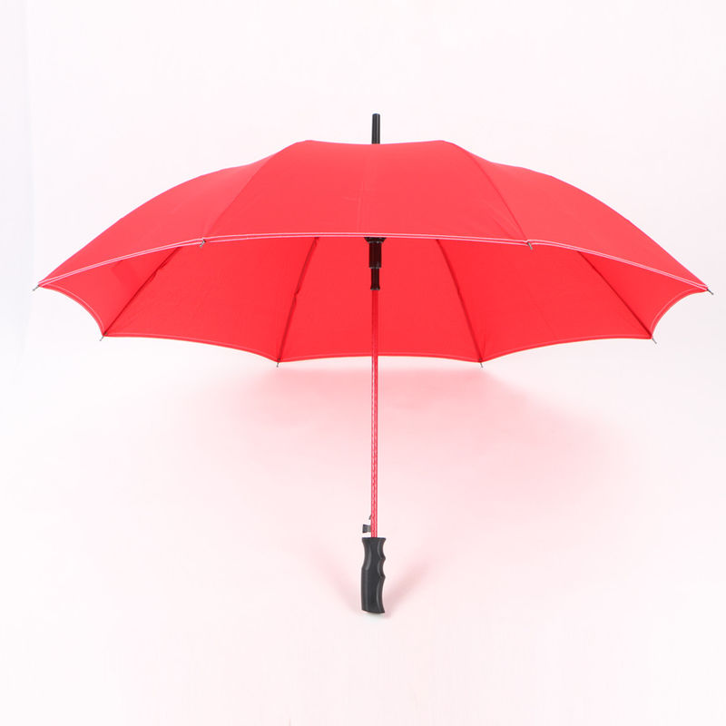 23 Inch Red Straight Handle Umbrella Red Pole And Black Handle For Ladies supplier