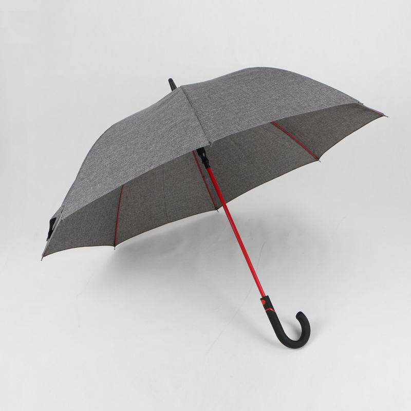 Polyester Personalised Golf Umbrella , Grey Black Umbrella With Curved Handle