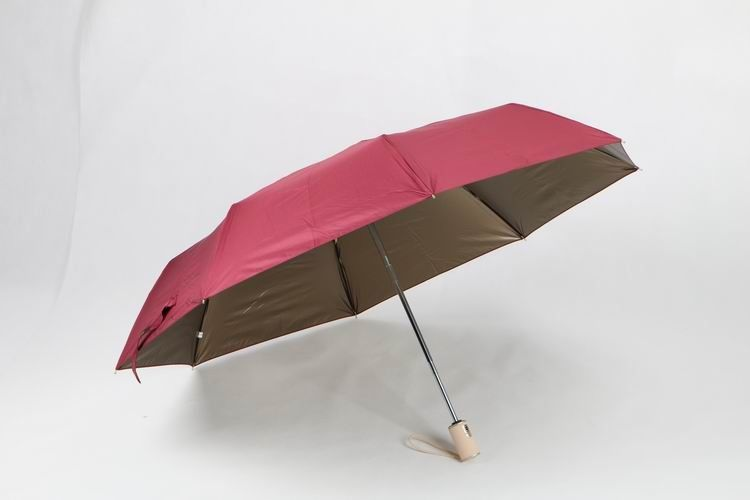 21 inch red auto open close umbrella with gold coating and leather handle