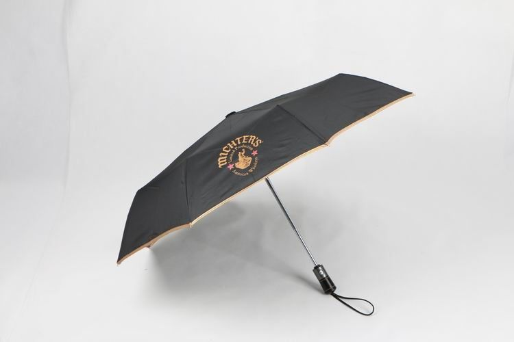 21 inch black auto open close umbrella with logo printing and leather handle