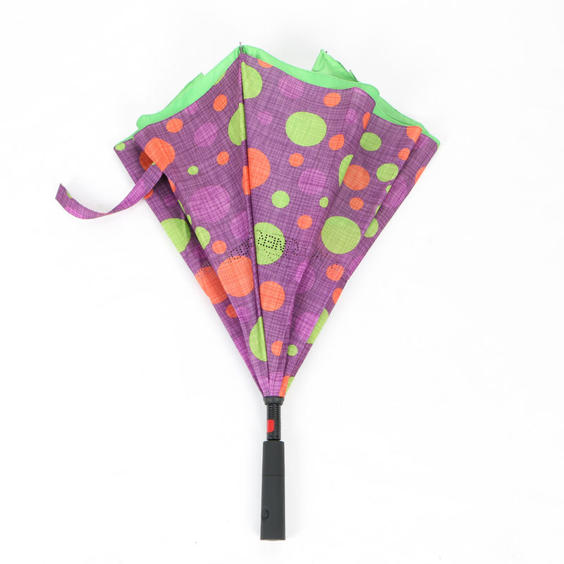Auto Open Reverse Inverted Umbrella With Torchlight LED Handle 190T Pongee Fabric supplier