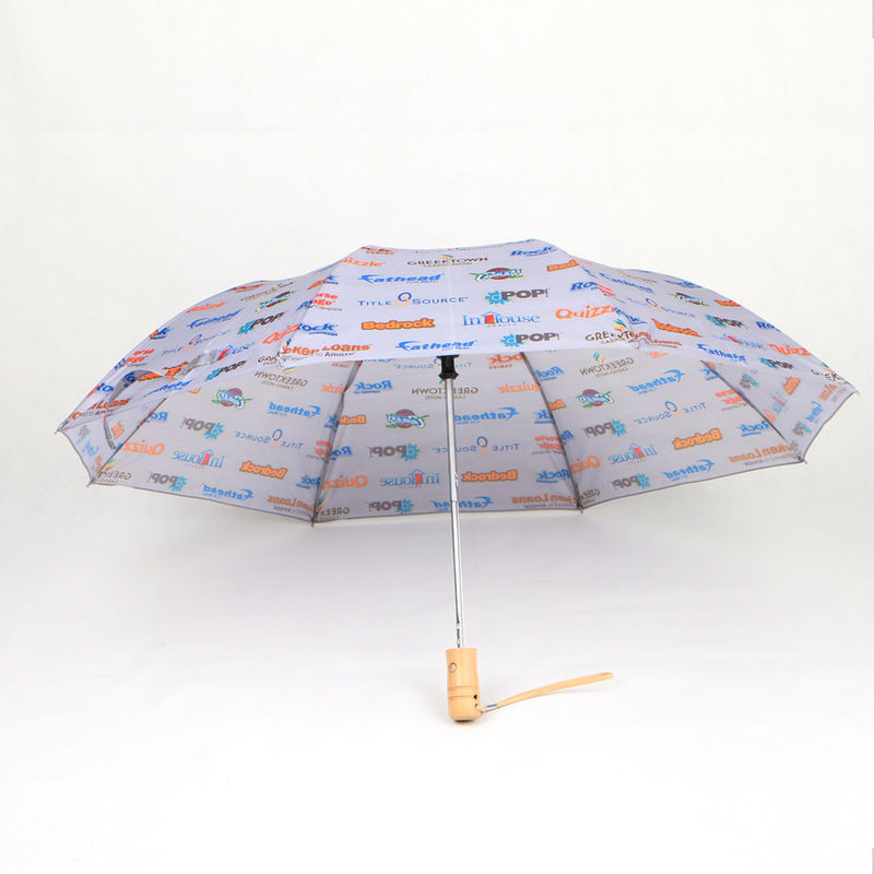 21 Inch Collapsible Two Fold Umbrella With Wood Handle And NBA Team Printing