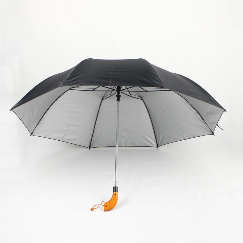 Black Silver Uv Coating Two Fold Umbrella With Wood Handle 21 Inch Auto Open