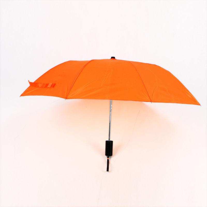 Orange Collapsible Golf Umbrella , Lady Fashion Windproof 2 Fold Umbrella