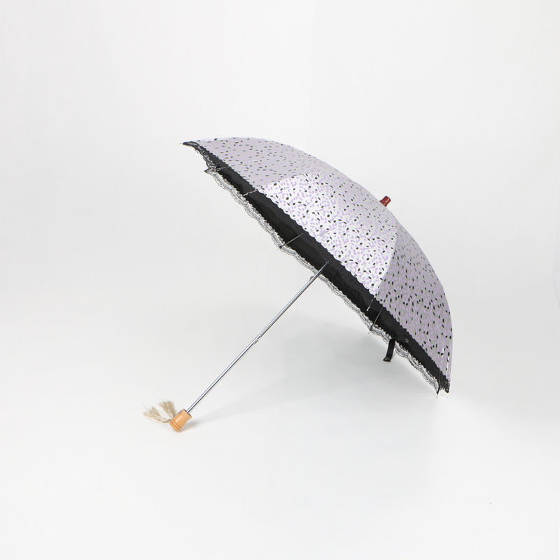 21 Inch Manual Two Fold Umbrella With UV Protection Coating Custom Design