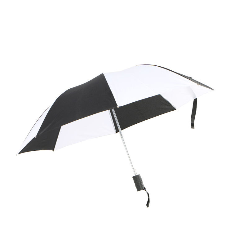 Custom Logo Printed Two Fold Umbrella Black And White Automatic Opening