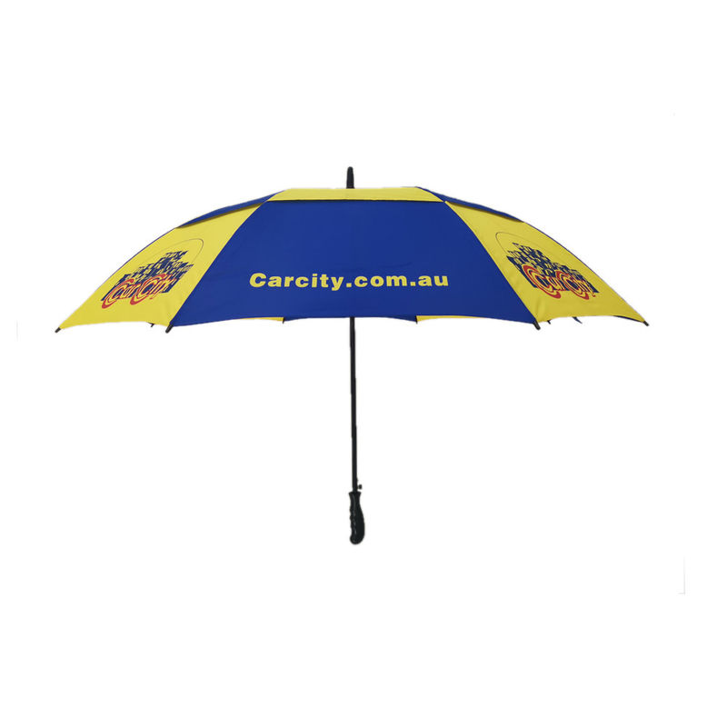 30 Inch Air Vent Double Canopy Golf Umbrella Windproof With Full Silk Screen Print supplier