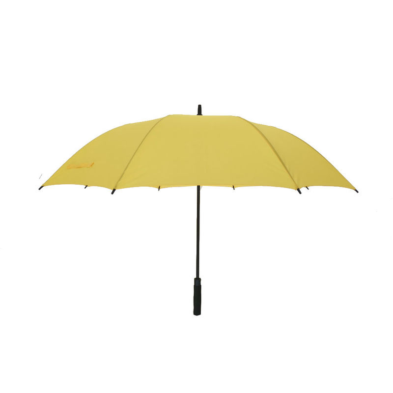 Large Budget Golf Sun Umbrella Hurricane Proof Umbrella Fiberglass Frame In Yellow Color