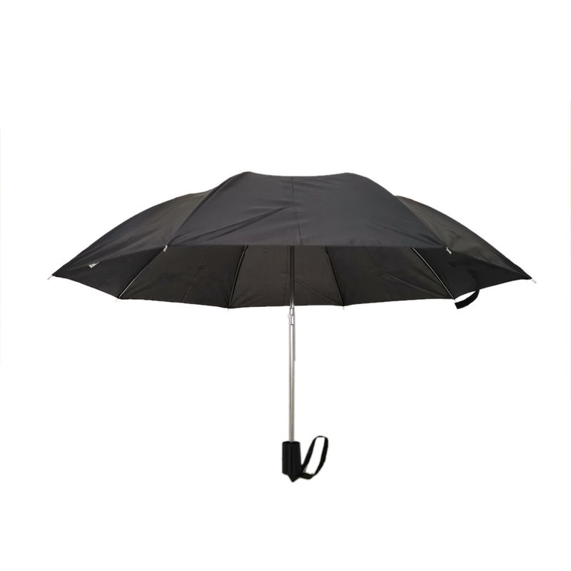 19 Inch Black Mens Two Fold Umbrella Compact Automatic Open Metal With Black Handle